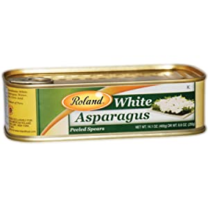 Roland Foods Canned White Asparagus Spears in Brine, Specialty Imported Food, 14.1-Ounce Rectangular Tin (Pack of 6)