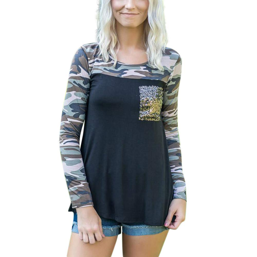Women Long Sleeve Camouflage Tops Daoroka Ladies Sexy Sequin Pockets O Neck Pullover Casual Loose Blouse Fashion Cute Autumn Winter Comfort Tunic T Shirt