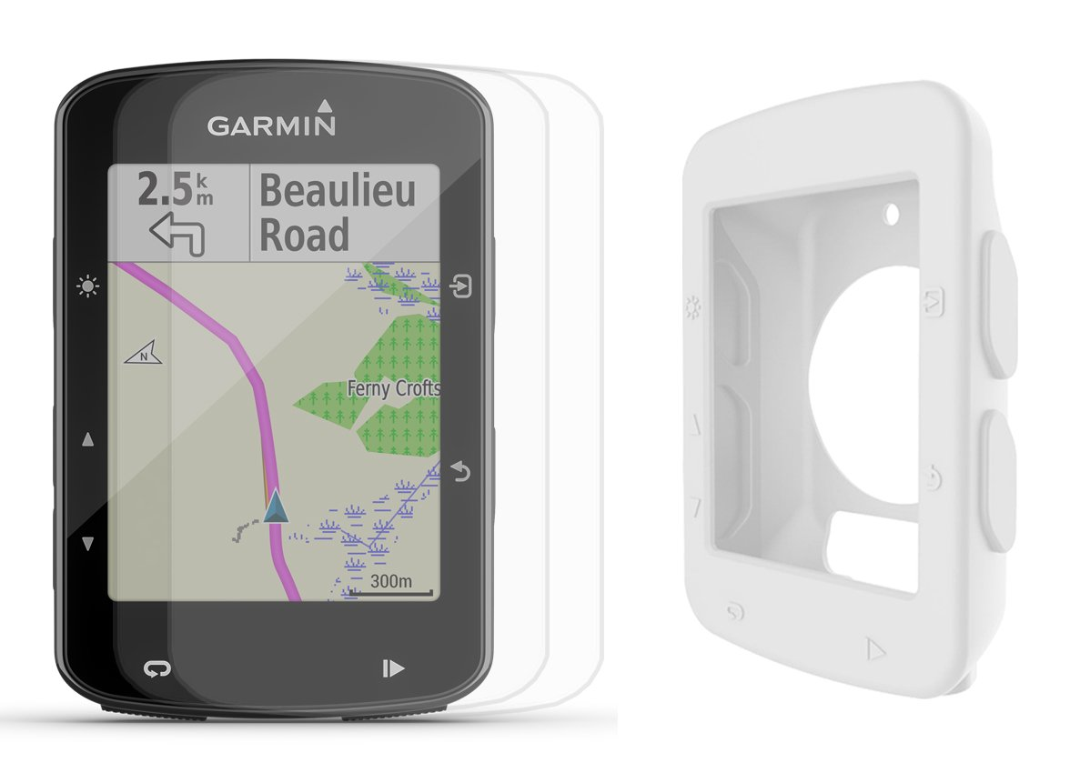 Garmin Edge 520 Plus 2018 Version Cycle Bundle w PlayBetter Silicone Case Screen Protectors Maps Navigation, Bike Mounts GPS Bike Computer White Case, GPS Only
