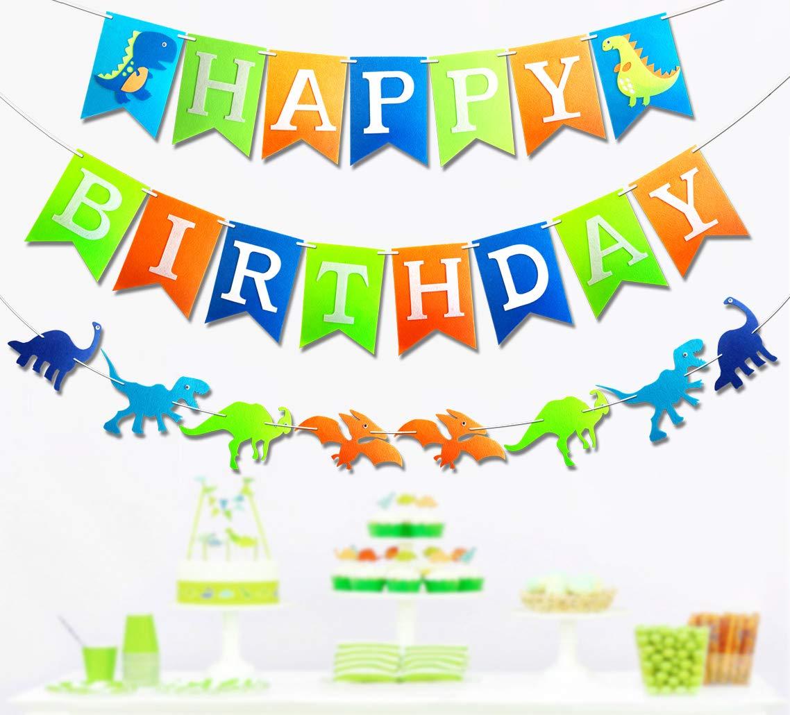 Giftsfarm Dinosaur Party Suppliers, Premium Dinosaur Happy Birthday Banner, New for 2018, Dino Jungle Jurassic Garland T-Rex Photo Props Design for Kids Birthday Party Decorations