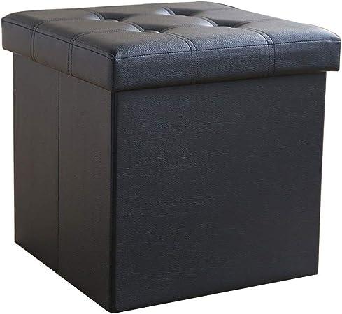 Taburete de almacenamiento de tapicería de cuero artificial ecológico e insípido, caja de juguetes plegable de