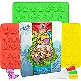 Dinosaur Gummy Bear Mold Silicone 3 Pack ~ BONUS 3 Droppers + Recipe PDF - non - BPA Large Gummie Candy Chocolate Molds – Bigger Gummies – Ice Cube Dinosaurs ~ Gelatin Trays Set