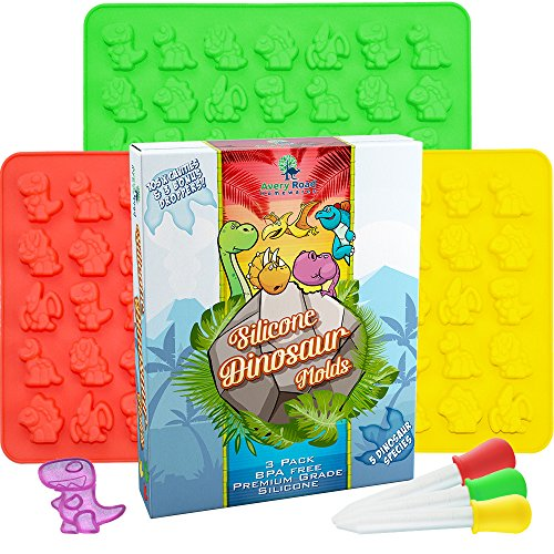 Dinosaur Gummy Bear Mold Silicone 3 Pack ~ BONUS 3 Droppers + Recipe PDF - non - BPA Large Gummie Candy Chocolate Molds - Bigger Gummies - Ice Cube Dinosaurs ~ Gelatin Trays Set
