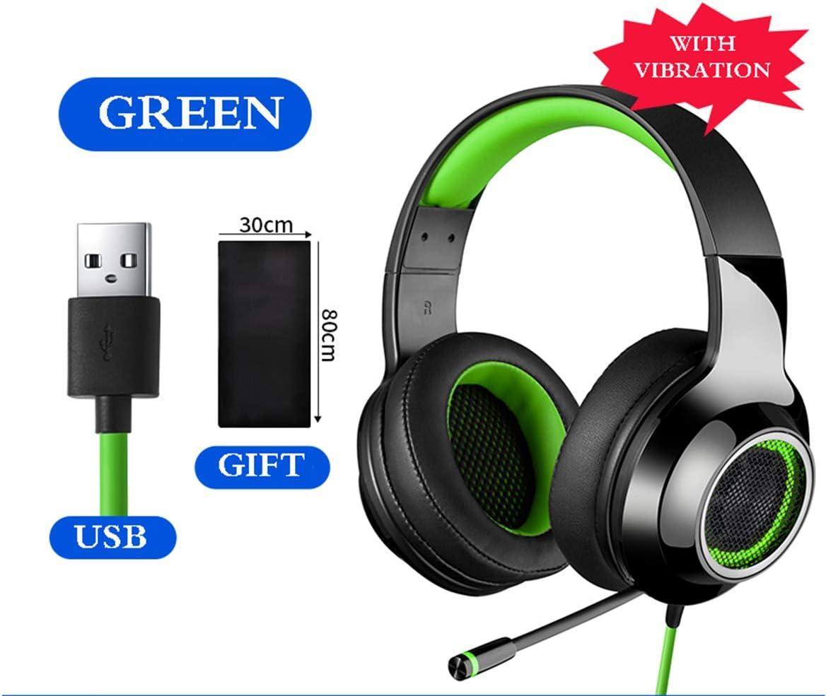 AHSOG Eスポーツ、ゲームモニターヘッドフォン、ヘッドセット、デスクトップ、携帯、ノイズリダクション USB、有線、マイク付き