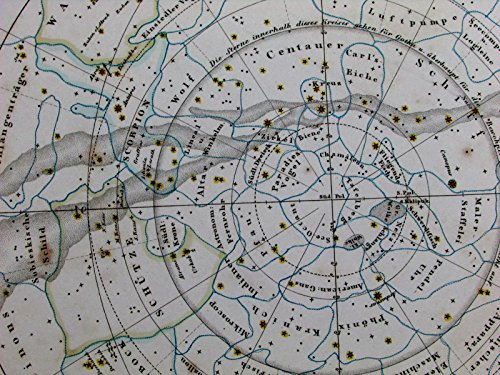Southern celestial constellation chart astronomy stars Milky Way 1841 old chart