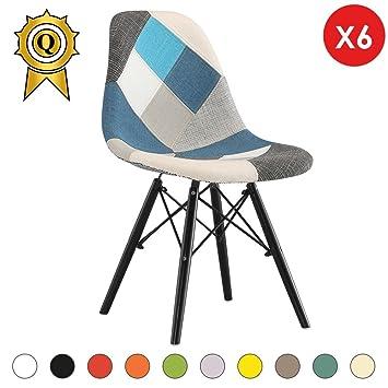 MOBISTYL 6 X Chaise Design Inspiration Eiffel Pieds Bois Noir Assise Patchwork Bleu DSWB PCB