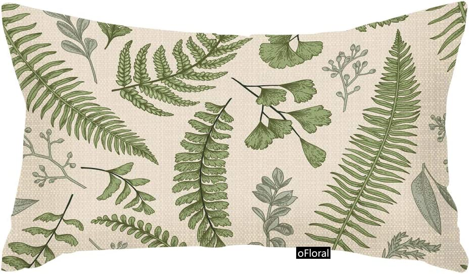 oFloral Throw Pillow Cover Green Leaf Floral in Vintage Style Leaves and Herbs Botanical Boxwood Seeded Eucalyptus Fern Maidenhair Rectangle Pillow Case Home Decor 12x20 Inches Pillowcase Cotton Linen