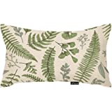 oFloral Throw Pillow Cover Green Leaf Floral in Vintage Style Leaves and Herbs Botanical Boxwood Seeded Eucalyptus Fern…