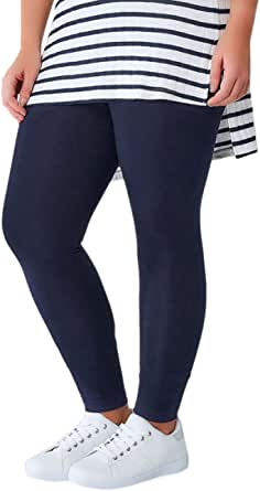 ToBeInStyle Women's Essential Skinny Fit Cotton Stretch Full Length Leggings Tights