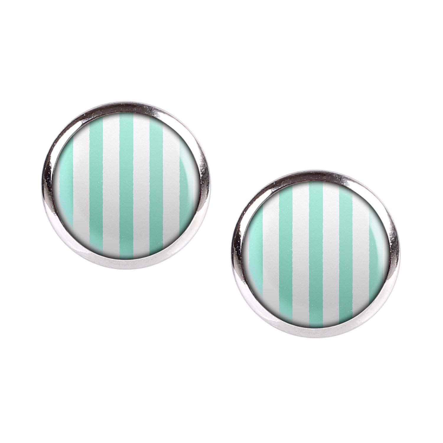 Stud Earring Pair with Cabochon Picture Striped strip Turquoise Opal silver different sizes