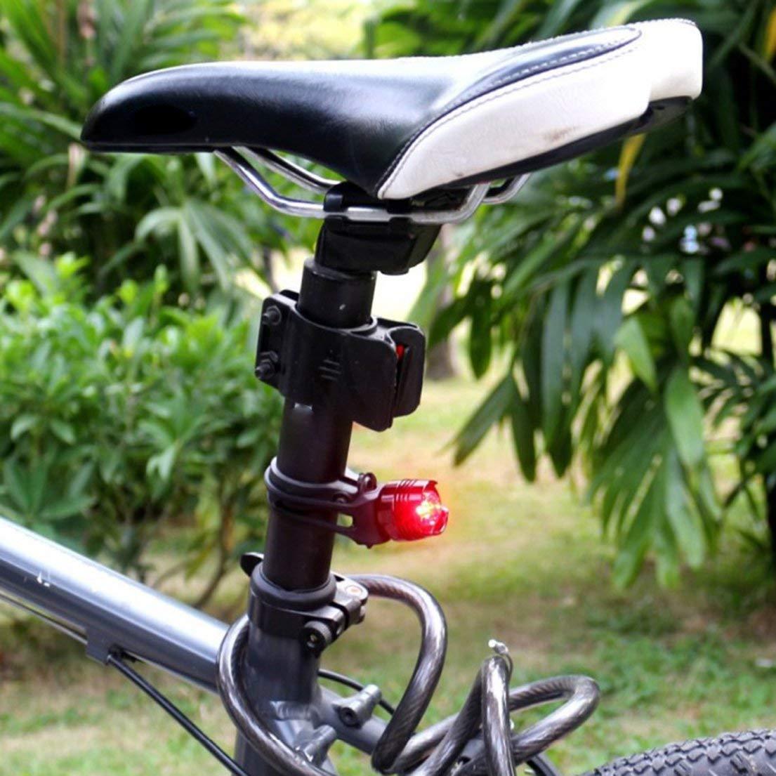 Resalte de Bicicleta Faros Impermeables Combinaci/ón de Luces traseras de Color rub/í Negro Piloto Nocturno Luz de Advertencia de Seguridad Luz Trasera Rojo DFHJSXD