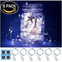 6 Pack,7Feet 20 LED Starry String Lights, Silver Wire,2pcs CR2032 Batteries Included, Firefly Lights LED Moon Lights for DIY Dinner Party,Table Decoration,Wedding Centerpiece(White)