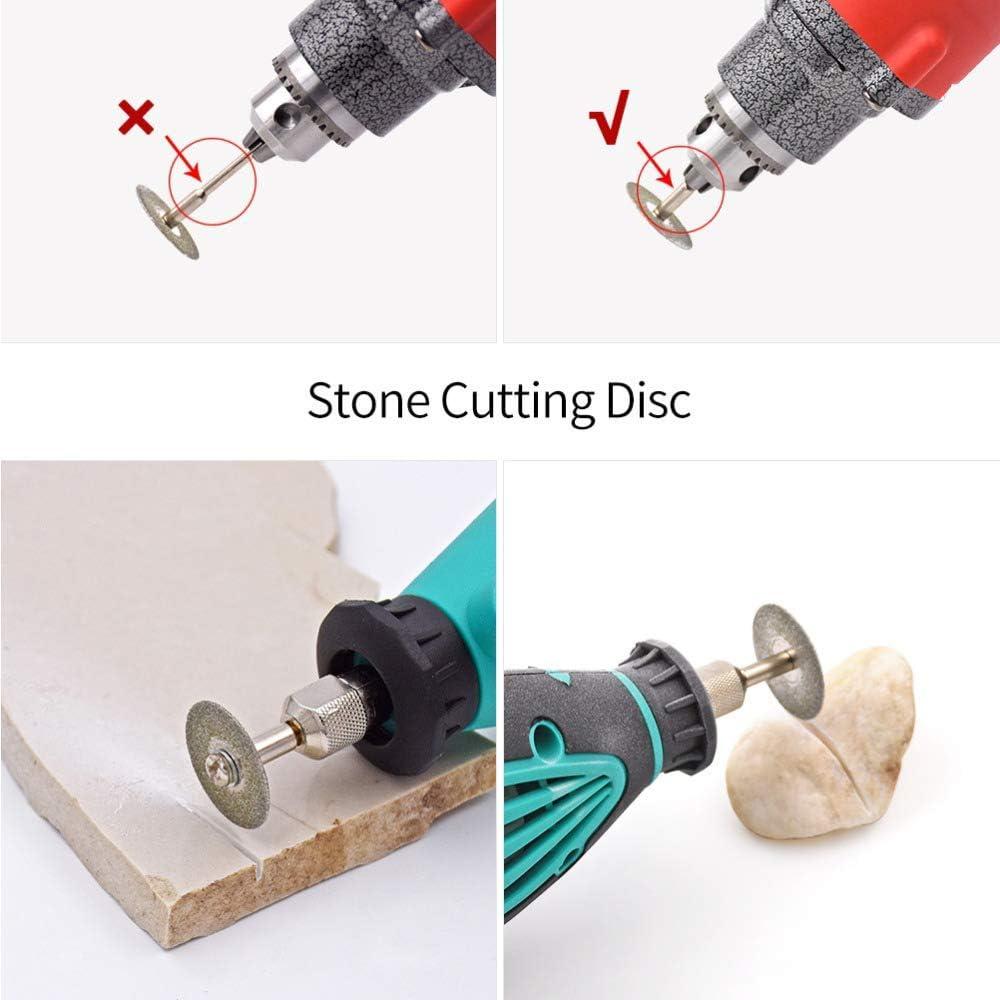 Lukcase 10 pcs Diamond Cutting Wheel Cut Off Discs Coated Rotary Tools W//Mandrel 30mm for Dremel