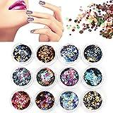 CynKen 12pcs Multicolor Ultra Thin Glitter Sequins Nail Art Decoration Set DIY Manicure Decor