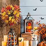 "GTIDEA 16.5"" Fall Front Door Harvest Wreath Autumn Silk Maple Leaf Garland for Home Yard Thanksgiving Indoor Outdoor Table Centerpieces Decoration"