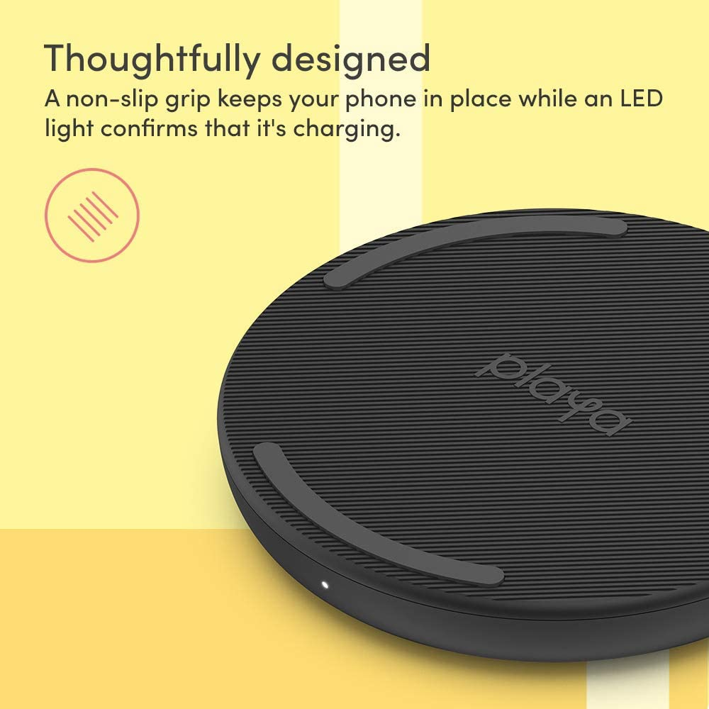 Required No Power Adapter Wireless Charger 10W by Playa Wireless Charging Pad Compatible w//iPhone SE, iPhone 11, Galaxy, Pixel, AirPods, More