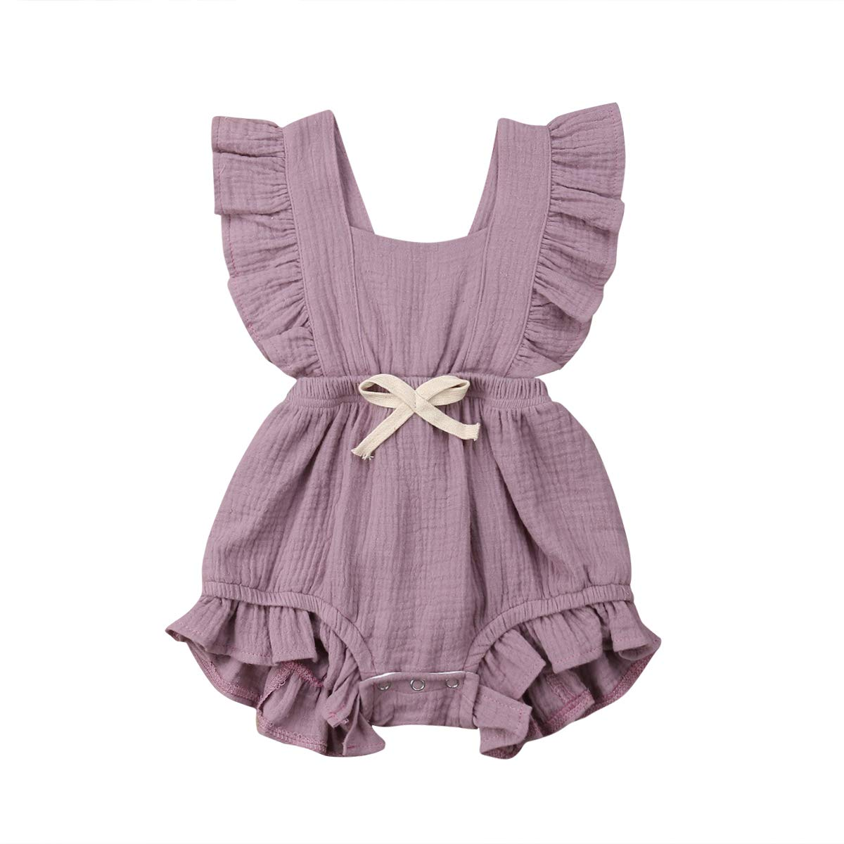 citgeett Newborn Baby Girl Sleeveless Ruffle Solid Color Romper One-Pieces Backless Bow Jumpsuit Outfit Summer Clothes