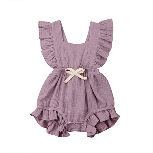 7954fc2f003 Image Unavailable. Image not available for. Color  Newborn Baby Girl  Clothes Ruffled Sleeve Romper Jumpsuit Bodysuit One Piece Outfits