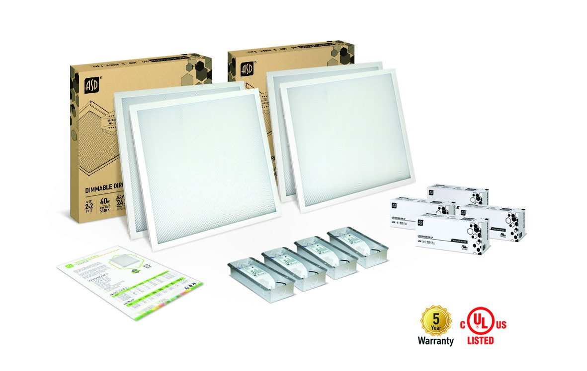 4-PACK ASD LED Panel 2x2 Dimmable Direct-Lit 40w 5000k