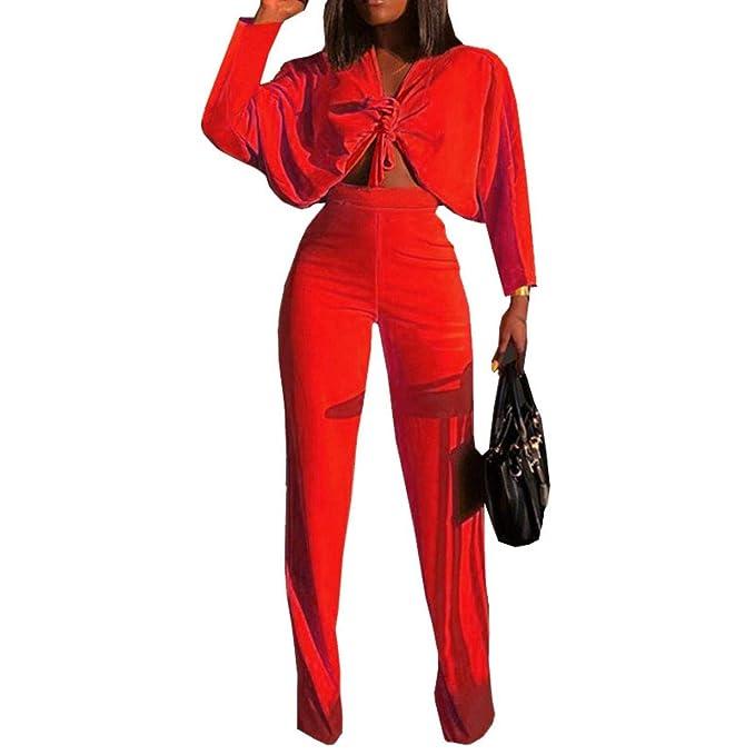 Amazon.com: NMKfWroU – Pantalones para mujer sexy con lazo ...