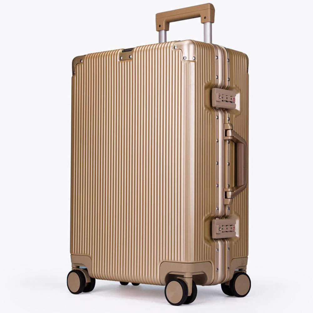 ユニセックスファッショントラベル大容量高品質荷物ローリングハードサイド荷物ローリングトロリー 20inches Gold B07L98RKDQ