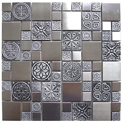 Roman Pattern Stainless Steel And Pewter Accents Metal Tile Kitchen Backsplash Bathroom Wall Home Decor Fireplace Surround