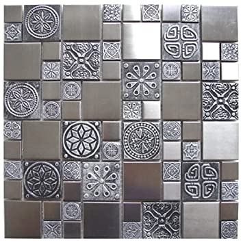 Roman Pattern Stainless Steel And Pewter Accents Metal Tile Kitchen Backsplash Bathroom Wall