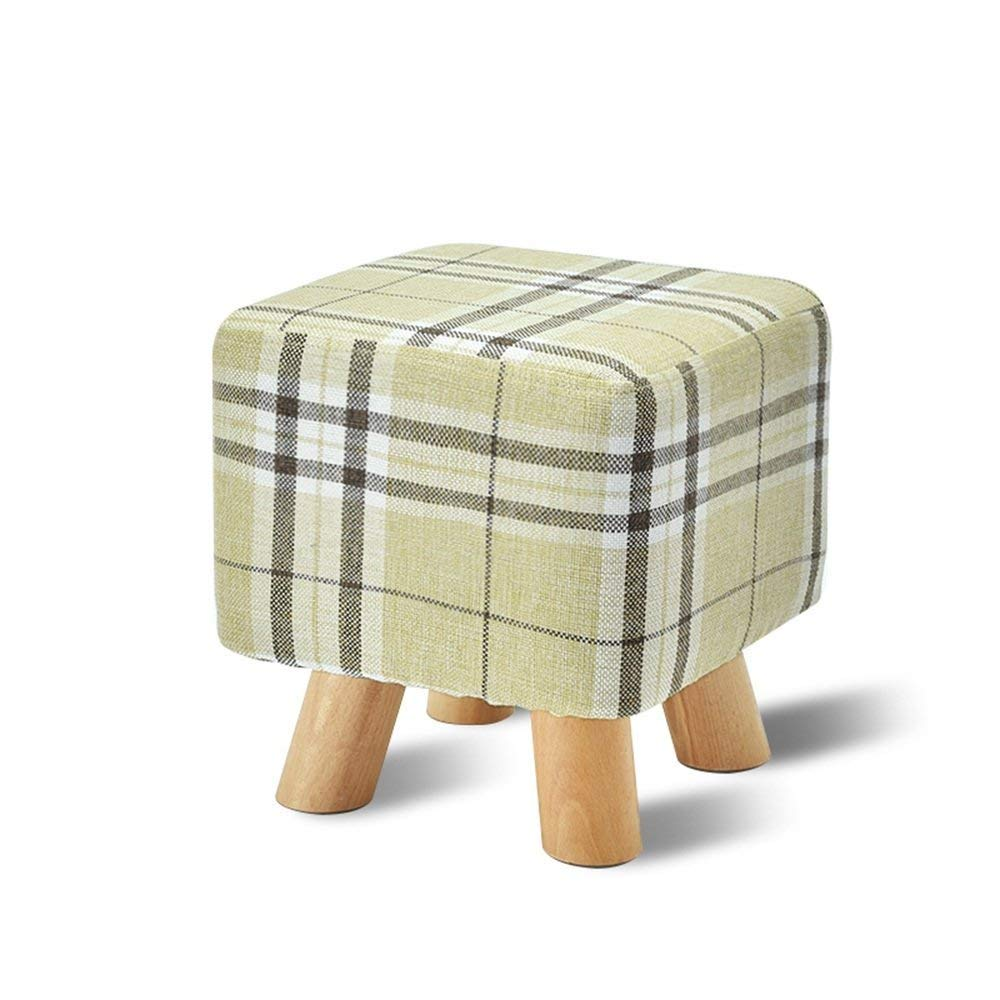 YQY Chair- Footstool Solid Wood & Fabric Square Four Legs Home Stool Fashion Shoe Bench Creative Sofa Stool,7
