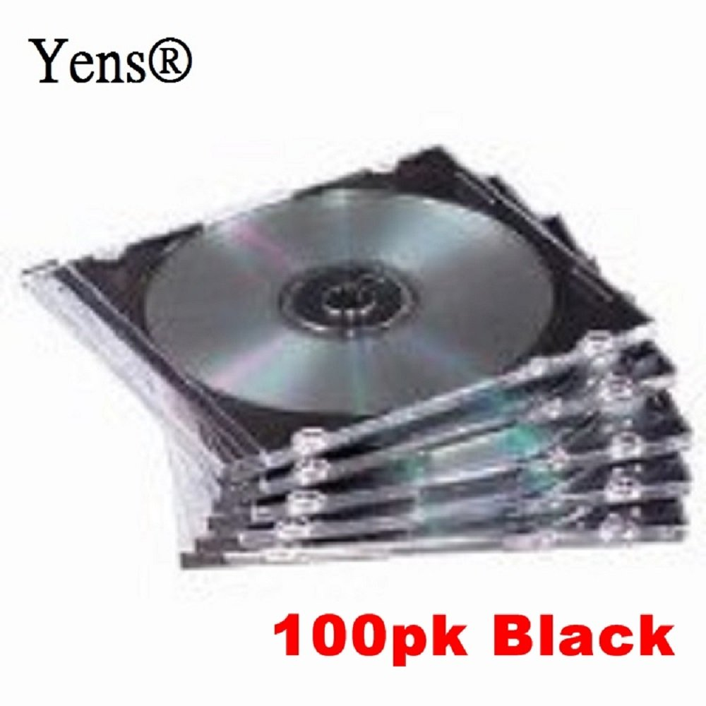 Yens CD Slim Slim CD Jewel Cases, Black, 100 Piece