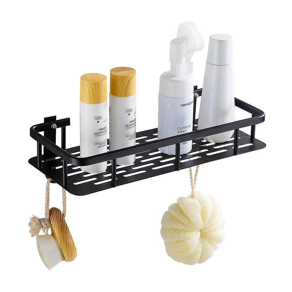 Hoomtaook Bandeja de baño rectangular negra, Cesta de ducha, Aluminio aeroespacial, Organizador de baño, Montaje en pared sin taladro, Adhesivo product image