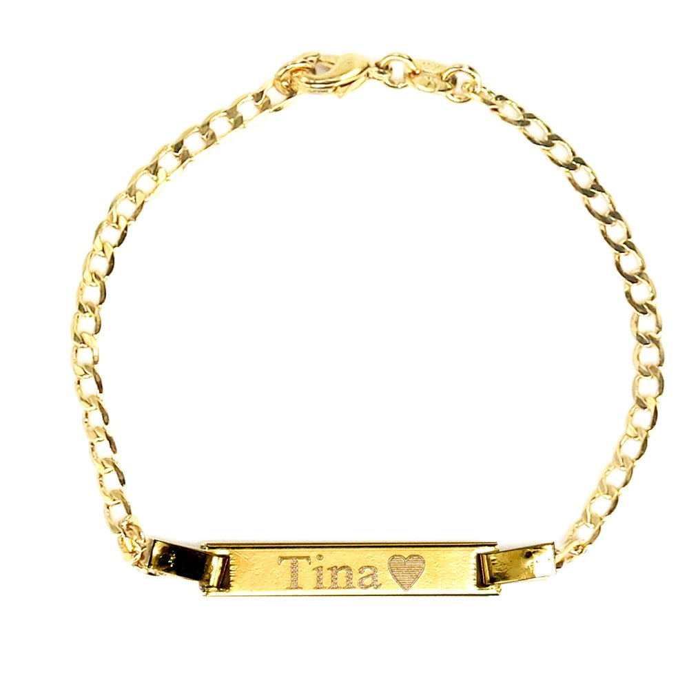 Tina's Jewelry Personalized Gold Name Plated Bracelet 4.5'' Free Engraved Bracelet for Baby Tina' s Jewelry