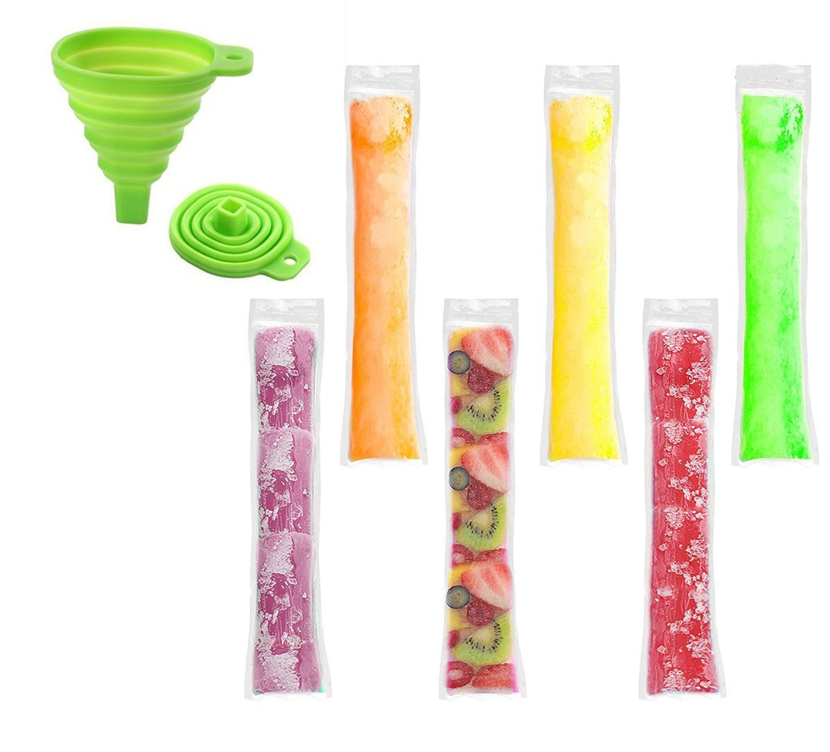 "120pcs Ice Pop Molds Bags, Popsicle Mold With Zip Seals with Foldable Funnel, 2 x 11"" DIY Zip-Top Ice Pop Pouches for Gogurt, Ice Candy or Freeze Pops, BPA Free Freezer Tubes for Kids and Adults (11x2 inch, Clear)"