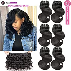 LAREALLEE Short Brazilian Body Wave Virgin Human Hair Bundles Natural Black Color Hair Length 8 8 8 8inches