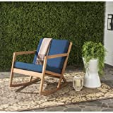 Rocking Chair, Cushioned, Indoor, Outdoor, Contemporary Design, Blue
