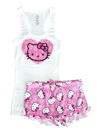 8e0f6af02 Hello Kitty Womens Pajamas Pink & White Sleep Set Shorts & Tank Top PJs at  Amazon Women's Clothing store: