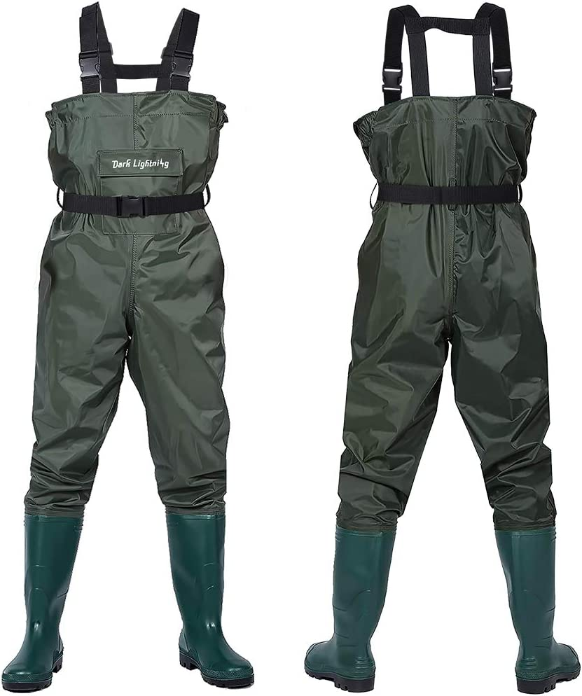 Mens//Womens High Chest Wader with Boot Hanger Dark Lightning Fly Fishing Waders for Men and Women with Boots