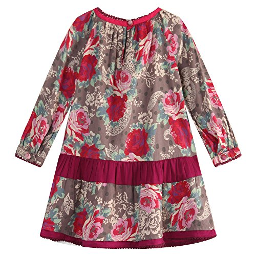 Richie House Big Girls' Flower Printed Dress with Pearl Embroidery at Neck RH1654-11/12-FBA