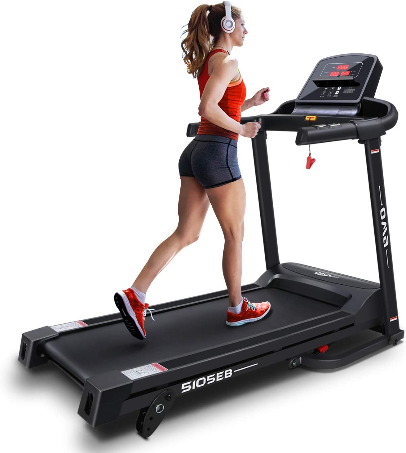 OMA Home Treadmills, Max 2.25 HP Folding Incline Treadmills for Running and Walking Exercise with LED Display of Tracking Heart Rate, Calories - Black