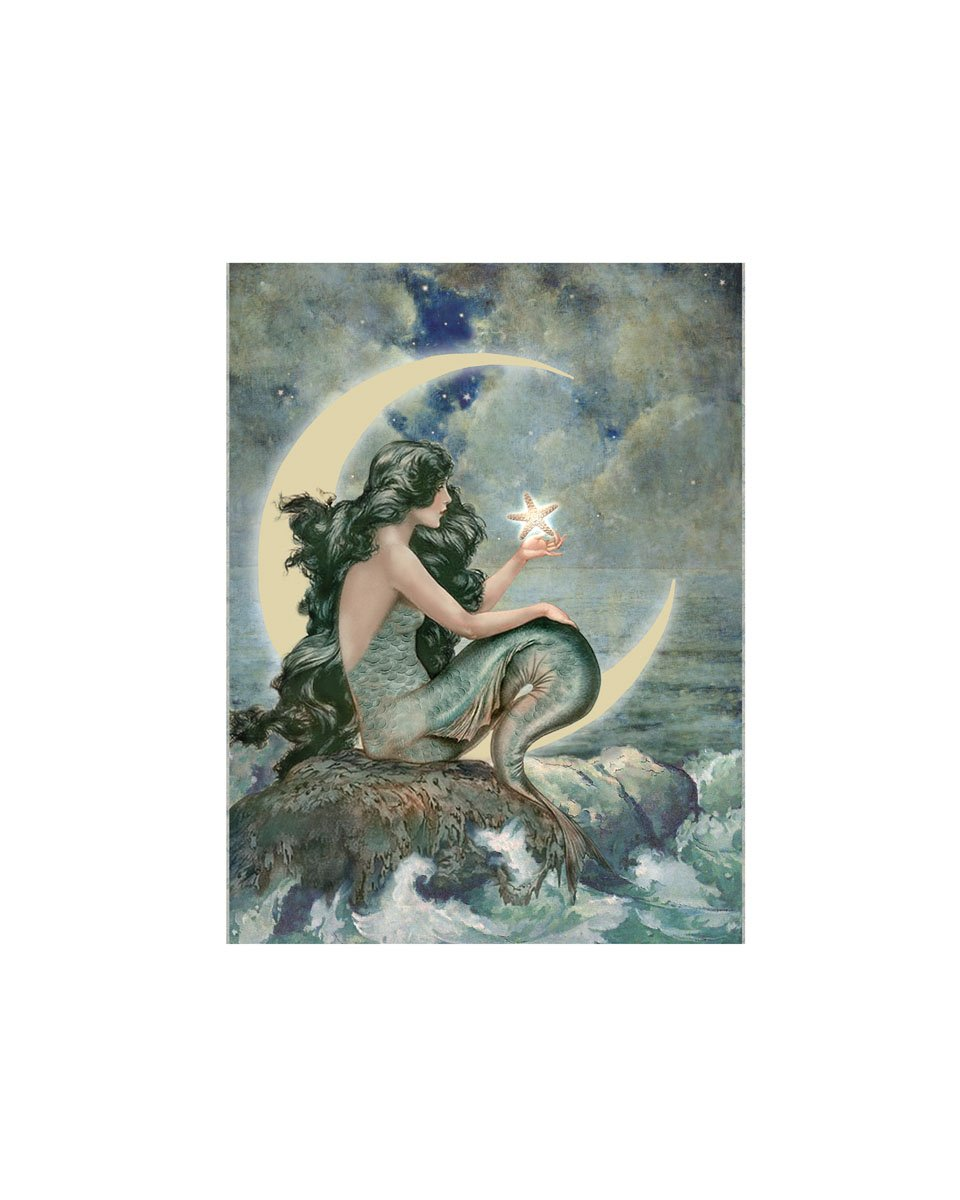 Amazon com ohio wholesale radiance lighted moon mermaid canvas wall art from our water collection wall decor posters prints