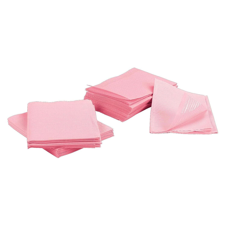 13 x 18 Pink Tattoo Piercing Disposable Waterproof Patient Bibs, 125 Pack