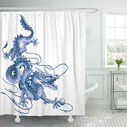 Emvency Shower Curtain Waterproof Adjustable Polyester Fabric Asia Blue Dragon Running Down Diagonally On White Caprice