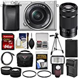 Sony Alpha A6300 4K Wi-Fi Digital Camera & 16-50mm (Silver) 55-210mm Lens + 64GB Card + Case + Flash + Battery & Charger + Tripod + Filters + Kit