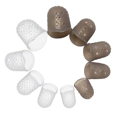 Hysagtek - 10 protectores de dedos de silicona para guitarra + 9 púas de celuloide + 1 slide de guitarra de acero inoxidable (mediano) kit de accesorios de ...