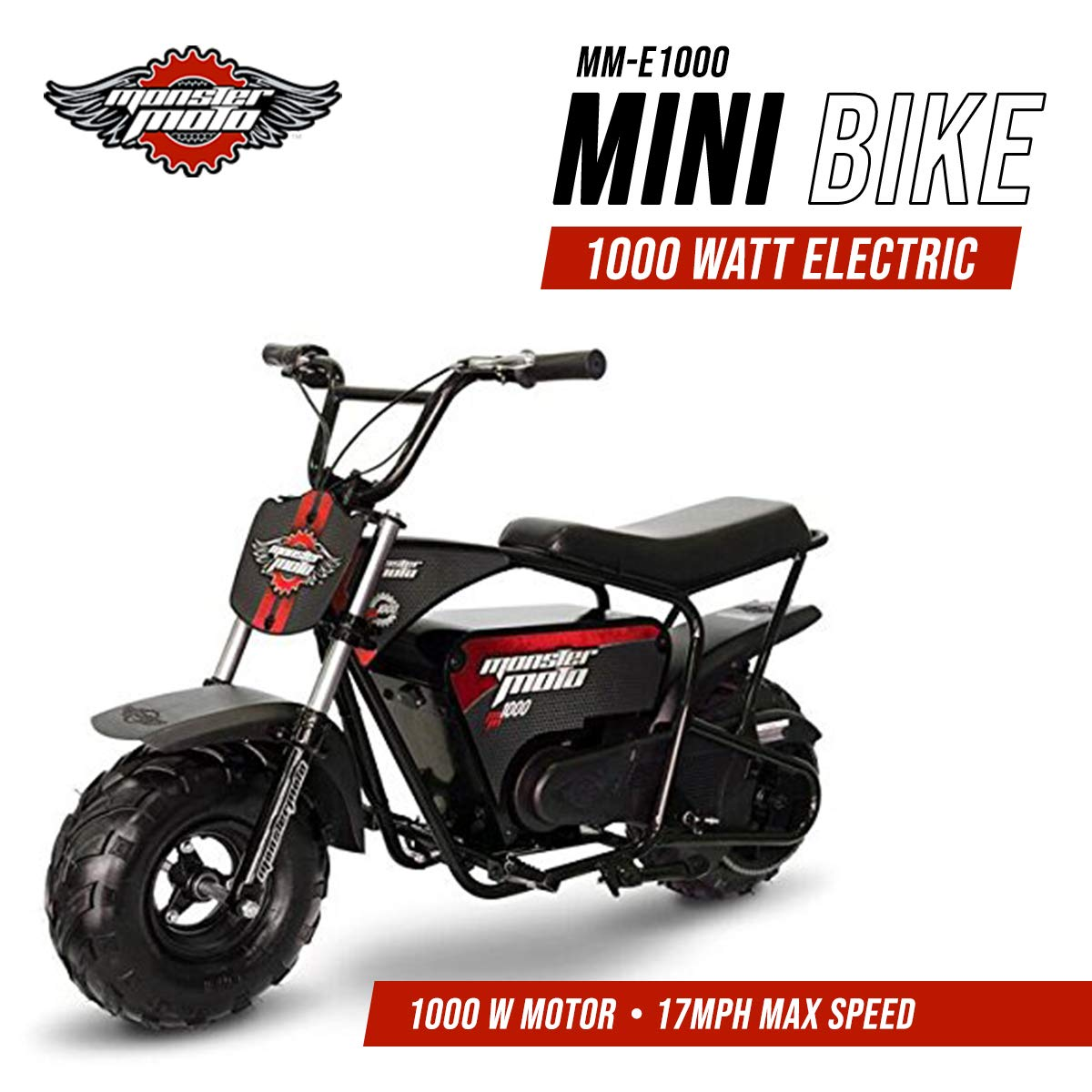 Monster Moto Mm E1000 Brm Electric Mini Bike With Mag Rocket Rims Plug Wiring Diagram Wheels Assembled In The Usa 1000 Watt Black Automotive