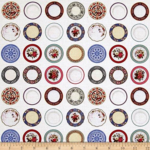 Kaufman Tea Time Fog Dots Plates White Fabric By The (Dots Tea Plate)