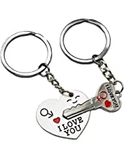 """Smallwise Trading Couple Keychain Keyring --- """"I Love You"""" Heart + Key --- Lover Sweetheart Gift for Valentine's Day / Wedding Anniversary / Birthday"""