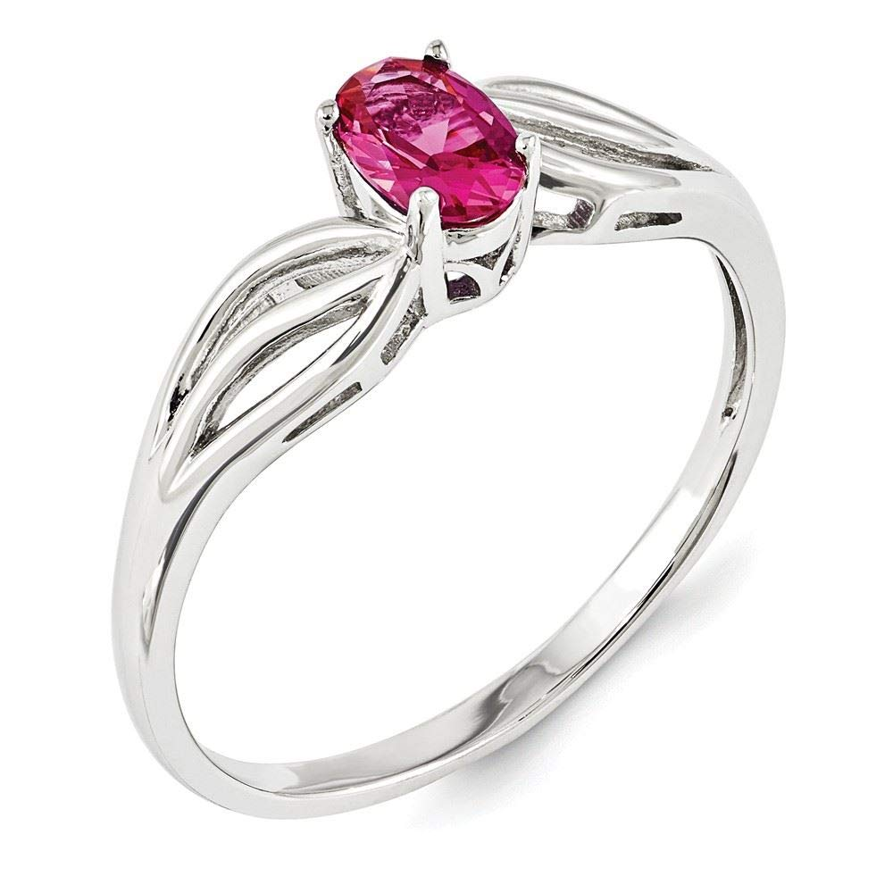 Sterling Silver 2 MM Created Ruby July Birthstone Ring
