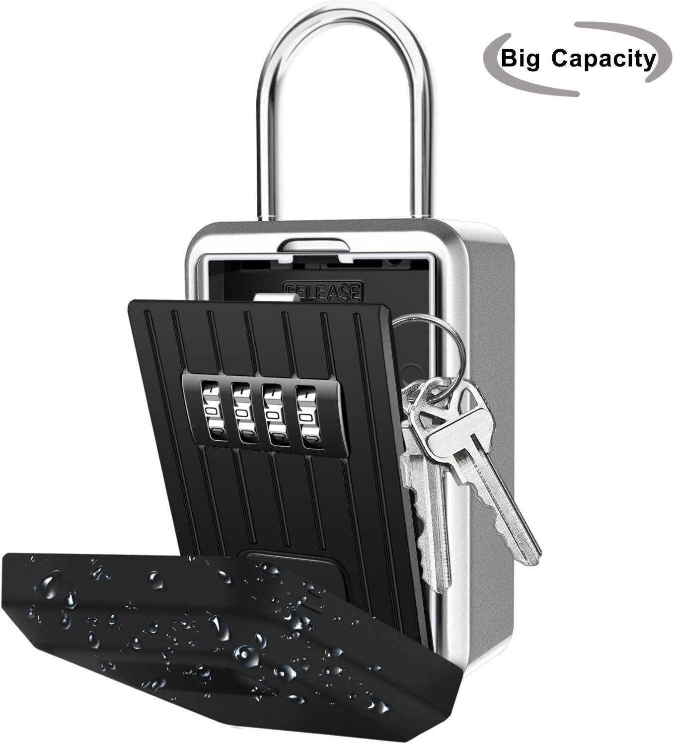 Key Lock Box, Large-Capacity Wall-Mounted Key Safe (with Plastic Waterproof Cover), Key Storage Box (with 4-bit Combination Lock), for Outdoor Home Office Garage, School Gym, Spare Room Key (Black)