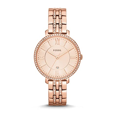 4976ea32dac Amazon.com  Fossil Women s ES3546 Jacqueline Rose Gold-Tone Stainless Steel  Watch  Fossil  Watches