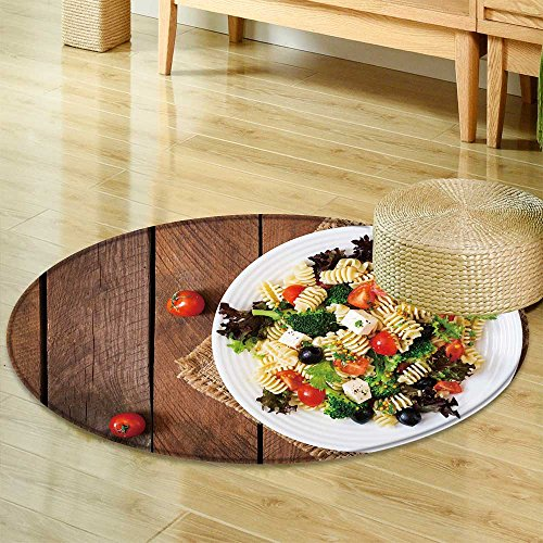Area Silky Smooth Rugs Pasta Salad with Tomato Broccoli Black Olives and Cheese feta top View  Home Decor Area Rug -Round 39